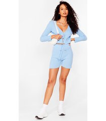 womens let knit be tie cardigan and shorts set - sky