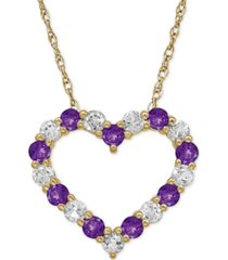 amethyst (5/8 ct. t.w.) and white topaz (3/4 ct. t.w.) heart pendant necklace in 14k gold