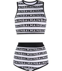balmain high-waisted logo stripes bikini - white
