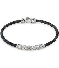 alor women's stainless steel, 14k white gold & white topaz cable bracelet