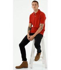 camiseta tipo polo de hombre, manga corta, 100% algodón, color rojo