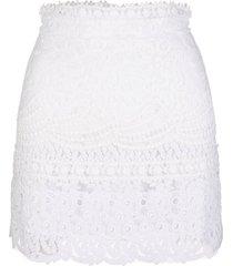 ermanno scervino white mini skirt in patchwork of sangallo lace and macrame