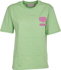 chiara ferragni green eyelike patch t-shirt