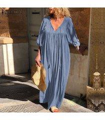zanzea vestido largo con cuello en v de manga larga para mujer vestidos largos sueltos casuales kaftan -azul