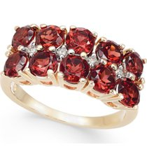 rhodolite garnet (3-1/5 ct. t.w.) & diamond (1/20 ct. t.w.) horizontal cluster ring in 14k gold