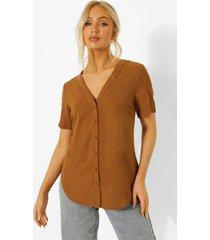 blouse met korte mouwen en knopen, mocha