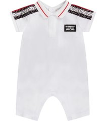 burberry white babyboy rompers with logo