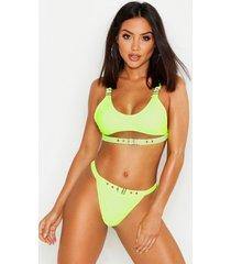 neon eyelet crop bikini, neon-yellow
