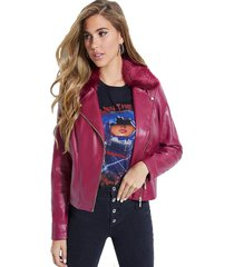 chaqueta ls colett faux fur trim moto rosado guess