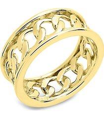 14k gold vermeil curb chain band ring
