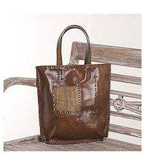leather tote bag, 'kuta heritage' (indonesia)