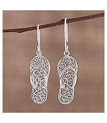 sterling silver dangle earrings, 'flip-flop time' (india)