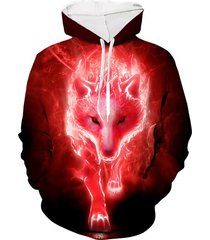 wolf 3d print casual drawstring hoodie