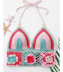 color block knit crop swim top