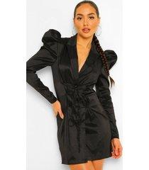 taffeta blazer jurk met pofmouwen en strik, black