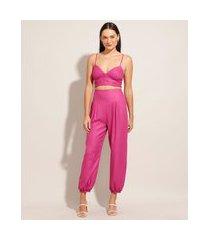 calça sarongue de viscose com bolsos pink