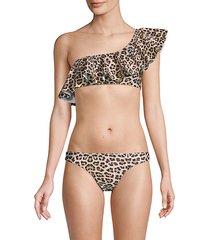 leopard-print ruffled bikini top