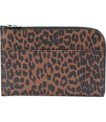 ganni leopard print clutch - brown