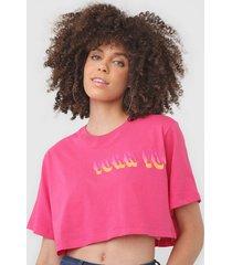 camiseta cropped john john side rosa - rosa - feminino - algodã£o - dafiti