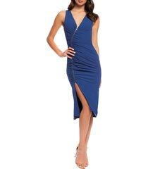 women's dress the population ivy ruched zip front sleeveless body-con midi dress, size large - blue