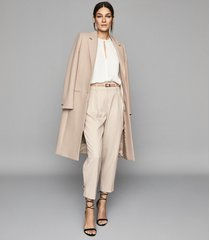 reiss pembury - wool blend overcoat in pale pink, womens, size 10