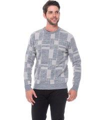 suéter slim jacquard passion tricot drew cinza