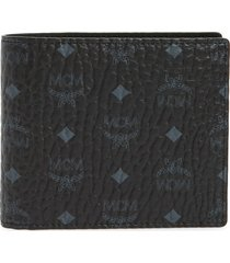 men's mcm logo coated canvas & leather wallet -