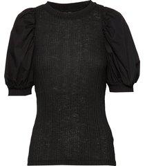 vmviola 2/4 puff sleeve mixed blouse vip t-shirts & tops short-sleeved svart vero moda