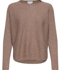 curved sweater stickad tröja brun davida cashmere