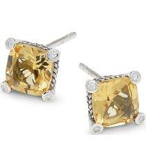 effy eny women's sterling silver, citrine & diamond stud earrings