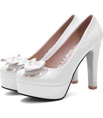 pp391 sweet bowtie block heel pumps, us size 4-10, white