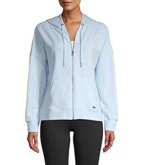 stripe-accent zip hoodie