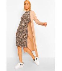 geribbelde luipaardprint midi jurk en duster jas set, sand