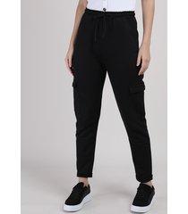 calça de moletom feminina cargo cintura alta preta