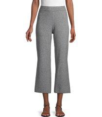 saks fifth avenue women's cropped cotton-blend wide-leg pants - black white - size l