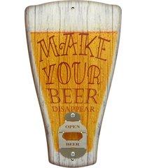 abridor  de garrafa de parede chopp make your beer... amarelo kasa ideia - amarelo - dafiti