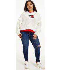 tommy hilfiger women's curve organic cotton flag sweater snow white - 2xl