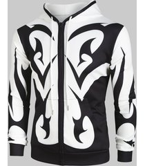 abstract print zip up pockets hoodie