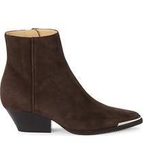 new dark suede ankle booties