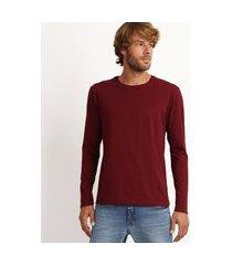 camiseta masculina antiviral básica manga longa gola careca vinho
