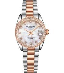 stuhrling women's rose gold - silver tone stainless steel bracelet watch 31mm