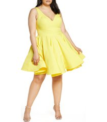 plus size women's mac duggal fit & flare party dress, size 14w - yellow