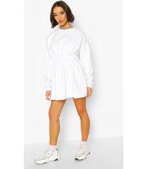 gathered waist sweat dress, white