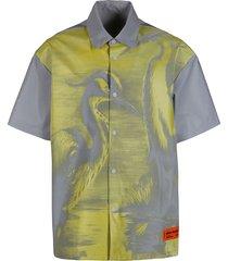 heron preston grey and yellow glass fiber blend shirt
