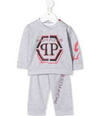 philipp plein flame-print tracksuit set - grey