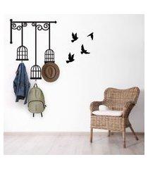 adesivo de parede gaiolas e pássaros 77x60cm com 3 ganchos