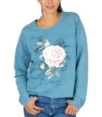 rebellious one juniors' rose crewneck sweatshirt