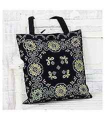 glass beaded cotton tote, 'blossoms in the dark' (india)