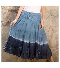 cotton batik skirt, 'blue boho chic' (thailand)