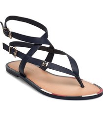 fem elastic flat sandal shoes summer shoes flat sandals blå tommy hilfiger